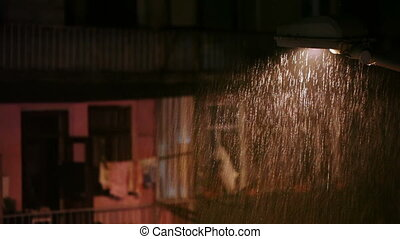 Rain in city at night - Night city. Going rain and lights...