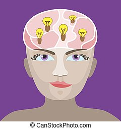 brain of a man's head with a glowing light bulb - silhouette...
