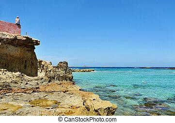 Cala Conta beach in Sant Josep, Ibiza Island, Spain - a view...