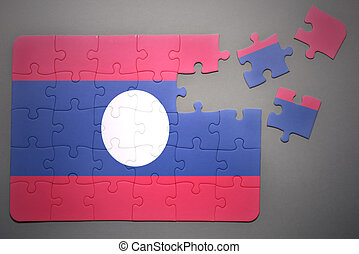 puzzle with the national flag of laos