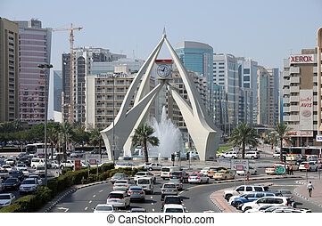 Tower Clock Roundabout in Dubai, United Arab Emirates