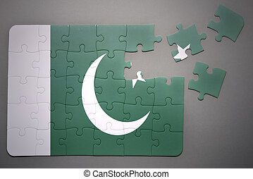 puzzle with the national flag of pakistan