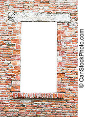 Old window closed with bricks - Old window of an abandoned...