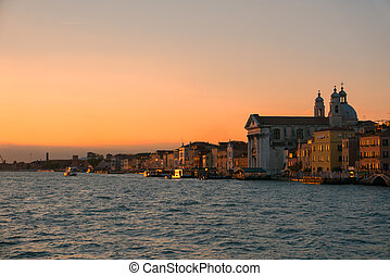 Panorama of Venice view at sunset from the sea.