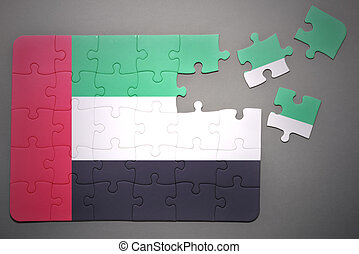 puzzle with the national flag of united arab emirates