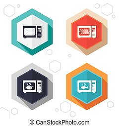 Microwave oven icons Cook in electric stove - Hexagon...