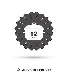 Boil 12 minutes. Cooking pan sign. Stew food - Vintage...