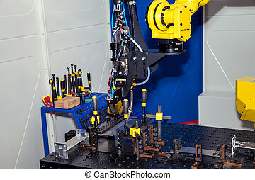 Industrial robot, close up of metal processing - Industrial...
