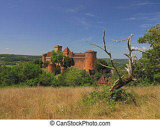 Castelnau Castle, Landscape, tree, field, - Valley of...