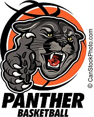 panther basketball team design with mascot head inside...