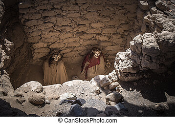 Chauchilla Cemetery with prehispanic mummies in Nazca...