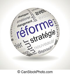 French reform theme sphere with keywords full vector