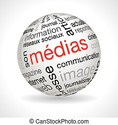 French media theme sphere with keywords full vector