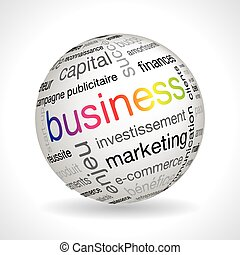 French business theme sphere with keywords full vector