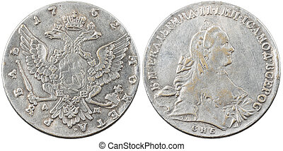 Fake ancient Russian silver coin 1 ruble