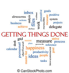 Getting Things Done Word Cloud Concept with great terms such...