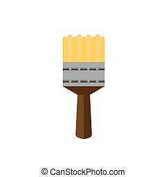 color paint brush on white background flat