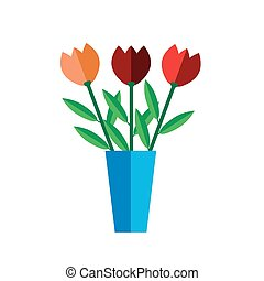 Tulip vase on white background flat