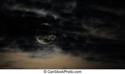 Moon Clouds Time Lapse - Dark stormy sky with moon