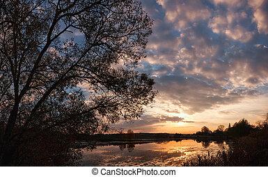 Sunset over Lake Landscape