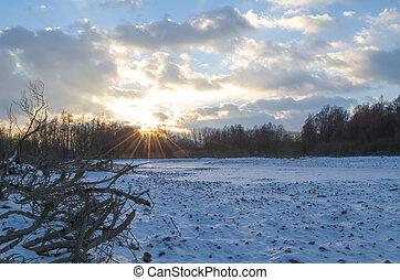 Snowy Winter Danube Backwater Landscape at Sunset - Snowy...