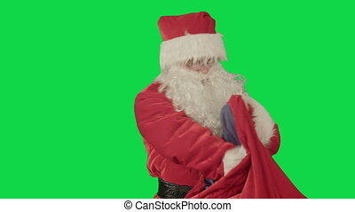 Real Santa Claus carrying presents in his sack on a Green...