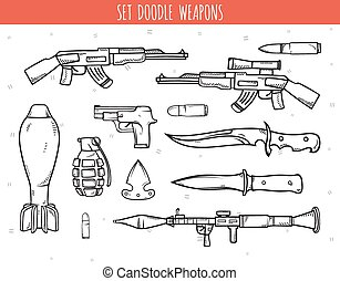 Big doodle set of weapon, shells, handwork bombs Machine gun...