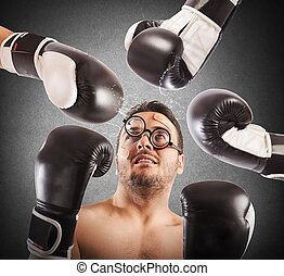 Loser boxer - Goofy boxer hit by many strong punches