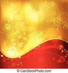 Red golden Christmas background with snowflakes and light effects