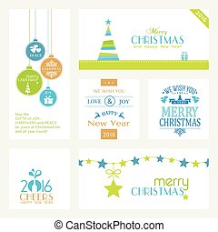 Set of flat Christmas and New Years banners on white