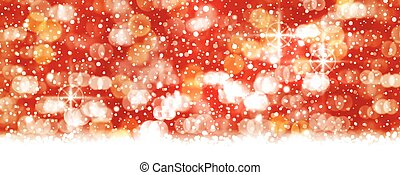Red white bokeh, blowwn out lights backdrop, panorama format...