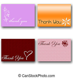 4 thank you cards with various pattern and font with drop...