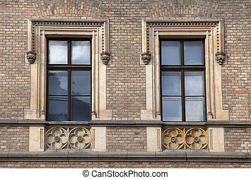 Classical baroque window with pediment in Prague, Czech...