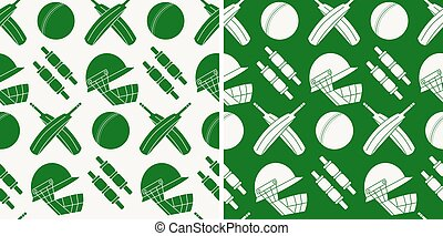 Seamless pattern with cricket game equipment silhouettes...