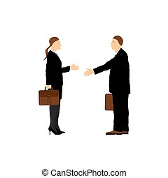 Two businessmen Man and woman Handshake Greeting...