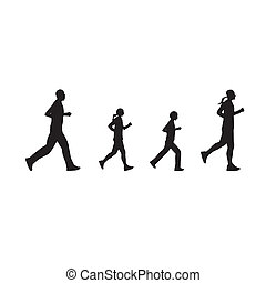 Black silhouettes of running people, family - Black...