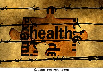Health puzzle concept against barbwire