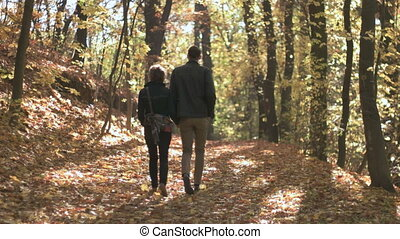 Fall Season in the Forest - Young couple walking on the...