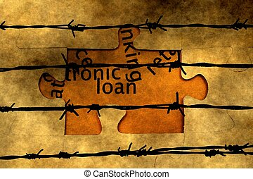 Loan puzzle against barbwire