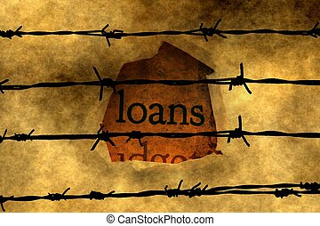 Loan concept against barbwire