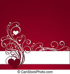 red heart banner with swirling foliage