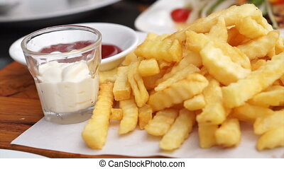 Video of French fries with ketchup