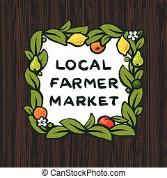 Local farmer market, farm logo design, vector illustration