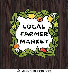 Local farmer market, farm logo design, vector illustration