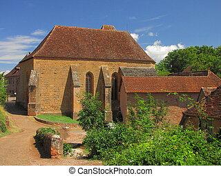 Church, village, Castelnau - Valley of Dordogne ; Lot,...