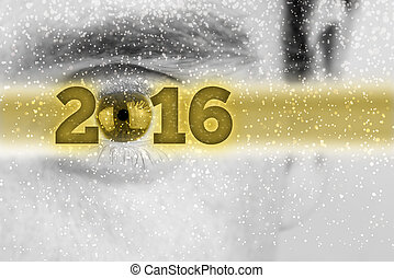Creative 2016 New Year background with the date in a golden...