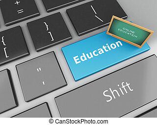 3d Blackboard on computer keyboard.