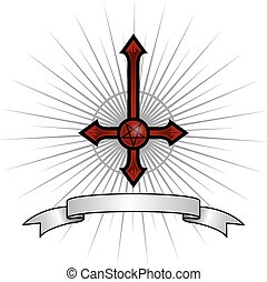 Satanic Cross - Inverted cross with a pentagram in the...