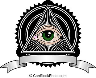 Retro Illuminati - All seeing eye pyramid retro symbol