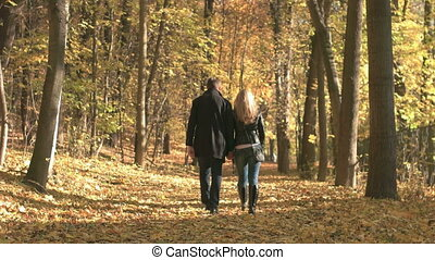 Fall Season in the Forest - Young couple enjoying the fall...
